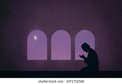 muslim praying in the night of ramadan (retro style)