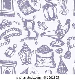 Muslim Symbols - vintage hand drawn seamless tileable pattern. Realistic zakat al-fitr, dates, beads, drum, lamp, prayer rug, flying magic carpet, lantern. Islamic culture.