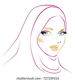 Muslimah in hijab digital drawing