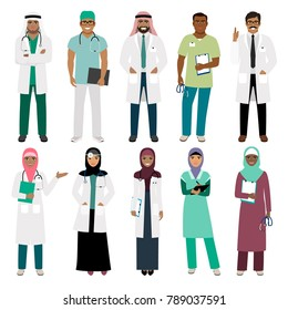 Muslims healthcare staff. Standing arab muslim physician doctor and arabian nurse isolated on white background