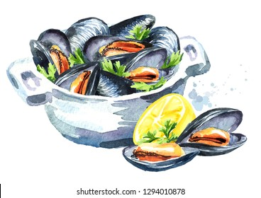 Mussels with herbs in a bowl with lemon, seafood, Watercolor hand drawn illustration isolated on white background