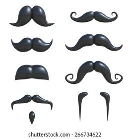 mustache 3d set