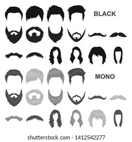 Mustache and beard, hairstyles black icons in set collection for design. Stylish haircut bitmap symbol stock web illustration.
