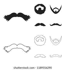 Mustache and beard, hairstyles black,outline icons in set collection for design. Stylish haircut bitmap symbol stock web illustration.