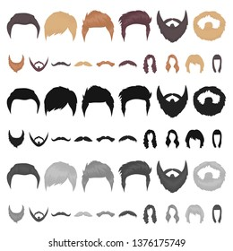 Mustache and beard, hairstyles cartoon icons in set collection for design. Stylish haircut bitmap symbol stock web illustration.