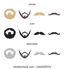 Mustache and beard, hairstyles cartoon,black,monochrome icons in set collection for design. Stylish haircut bitmap symbol stock web illustration.