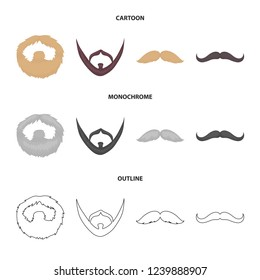 Mustache and beard, hairstyles cartoon,outline,monochrome icons in set collection for design. Stylish haircut bitmap symbol stock web illustration.
