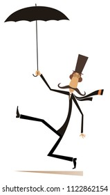 Mustache man in the top hat walking with umbrella isolated on white illustration. Mustache man in the top hat with umbrella isolated illustration