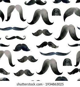 Mustache on a seamless pattern. Watercolor illustration for men, barbershops, wrapping paper, wallpaper, fabric.