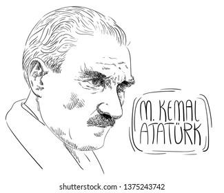 Mustafa Kemal Ataturk illustration, President of Turkey, Leader, Hand Drawing. 1881-1938.