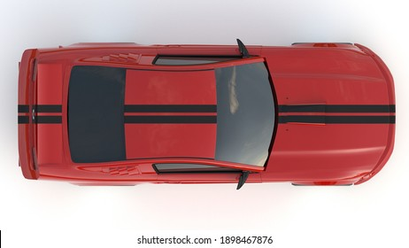 Mustang GT 2005 - January 20, 2021 on white background. Top view. 3d render