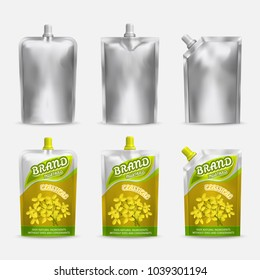 Mustard package mockup design, realistic illustration. White blank and color doypack template set. Doy-pack plastic bags isolated on white background.