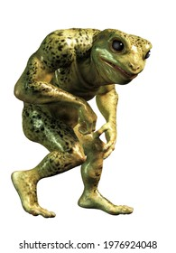 A mutant frogman stands before you: half frog and half human, this humanoid green slimy creature looks like something staight out of a horror movie. 3D Rendering