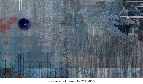 Muted Abstract Painting. Paint drops. 3D rendering