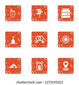 Mutual intercourse icons set. Grunge set of 9 mutual intercourse icons for web isolated on white background