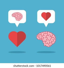 Mutual love brain and heart on blue background. Love, mind and emotion concept. Flat design