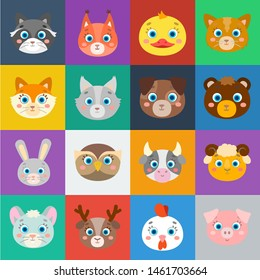 Muzzles of animals cartoon icons in set collection for design. Wild and domestic animals bitmap symbol stock web illustration.