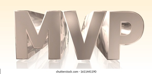 MVP - Minimum Viable Product -  Metal Word in Light Background - Concept Keyword Illustration - 3D rendering