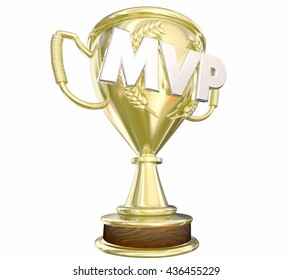 MVP Most Valuable Player Gold Trophy Award 3d Illustration