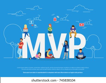 MVP vector illustration of young people using devices for buying new apps and digital goods. Flat concept design of minimum viable product and features analysis and research the market traction