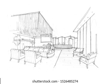 my hand sketch design idea of Lobby area