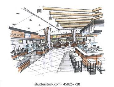 my sketch design idea of supermarket.No reference image.