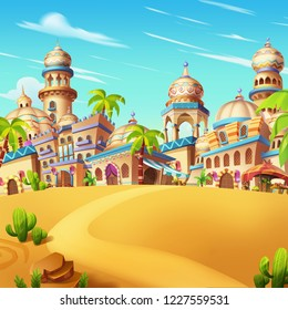 My Small City Scene, Desert City. Video Game Digital CG Artwork, Concept Illustration, Realistic Cartoon Style Scene Background Design