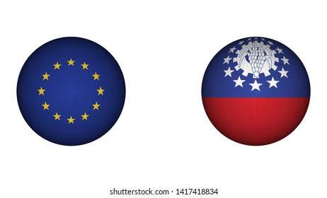 Myanmar Burma and European Union Circular Flags Together - White Background - 3D Illustration Fabric Texture