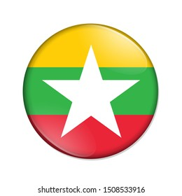 Myanmar country on a flag badge button isolated over white 3D Illustration