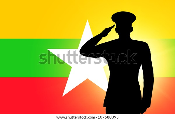 The Myanmar flag and the silhouette of a soldier's military salute