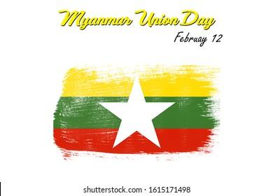 Myanmar flag, Myanmar Union day on February 12