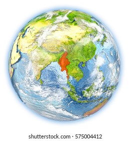 Myanmar highlighted in red on planet Earth. 3D illustration isolated on white background. Elements of this image furnished by NASA.
