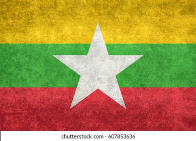 Myanmar national flag with grungy distressed textures