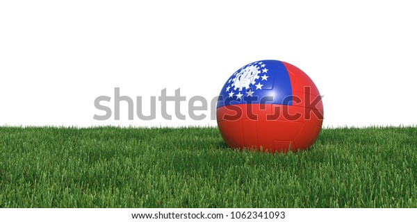 Myanmar Old flag soccer ball lying in grass, isolated on white background. 3D Rendering, Illustration.