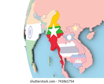 Myanmar on political globe with flag. 3D illustration.