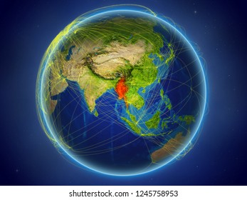 Myanmar from space on planet Earth with digital network representing international communication, technology and travel. 3D illustration. Elements of this image furnished by NASA.