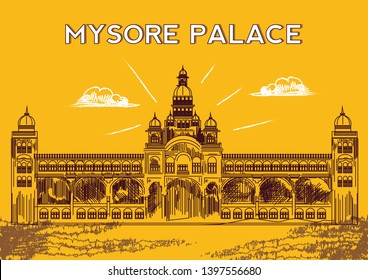 Mysore Palace , Karnataka, India. Mysore palace. Travel sketch. Vintage hand drawn