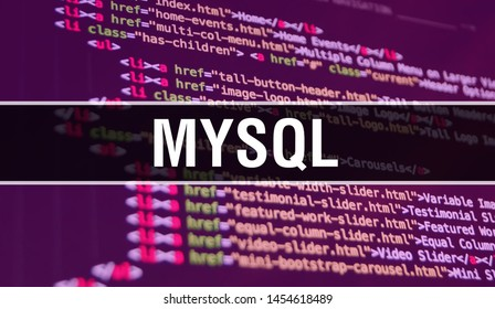 MYSQL concept illustration using code for developing programs and app. MYSQL website code with colourful tags in browser view on dark background. MYSQL on binary computer code, background