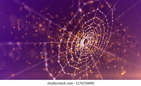 A mysterious 3d illustration of a spider net placed askew in the dark violet background. It looks magic and scary like an entrance to some ancient fairy tale area in flying sparkling spots