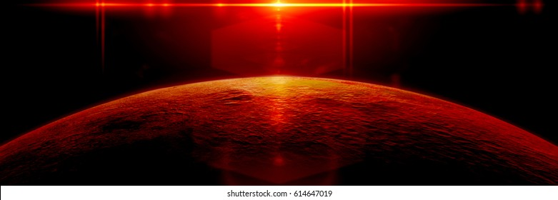 mysterious alien planet lit by a bright red star (3d illustration, exoplanet background banner, elements of this image are furnished by NASA)