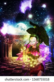 Mysterious ancient hall with starry galaxy texture and full moon, fairy woman, 3d rendered illustration. Elements for this image is furnished by NASA