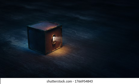 mysterious box with keyhole on a dark background. (3D Rendering, illustration)