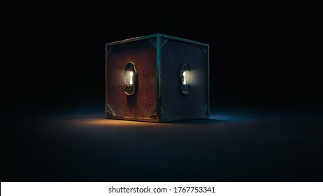 mysterious box with keyholes on a dark background. (3D Rendering, illustration)