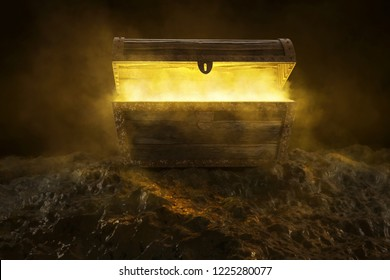 Mysterious box with yellow smoke (3D Rendering)