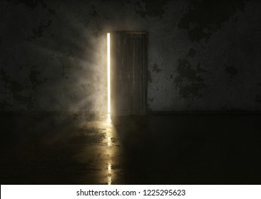 Mysterious door in dark room (3D Rendering)