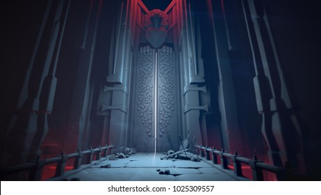 Mysterious dungeon with opening gates in blue tones. Entrance to the treasury. Above the high gate is a sculpture of a bird. At the gate lie skulls, shields and swords on a stone bridge. 3D rendering.