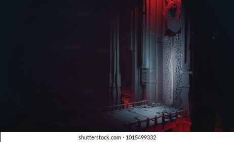 Mysterious dungeons with a slightly opened gate. Entrance to the treasury. Above the high gate is a sculpture of a bird. At the gate lie skulls, shields and swords on a stone bridge. 3D rendering.