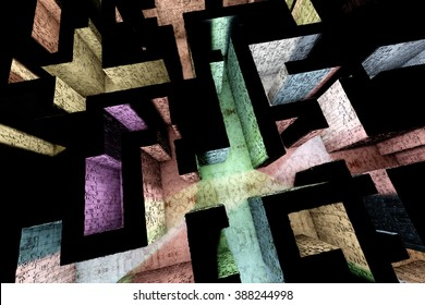 Mysterious Enigmatic Maze Labyrinth 3D Illustration