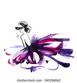 Mysterious girl om masquerade, illustration