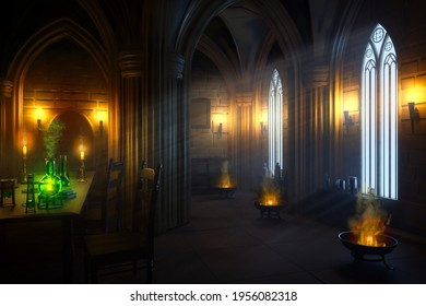 Mysterious gothic alchemist laboratory in the night with the moonlight rays.. 3D illustration with digital painting postprocess.